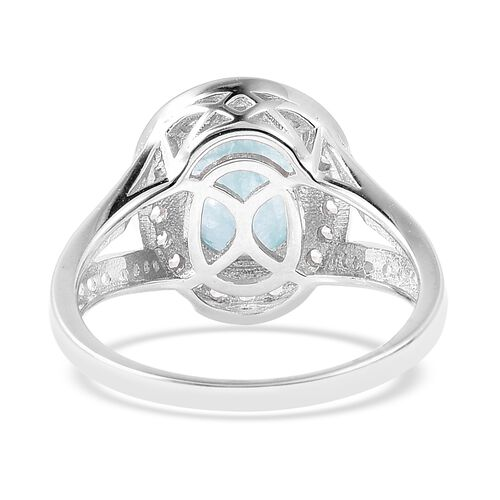Grandidierite (Ovl 10x8 mm), Natural White Cambodian Zircon Ring in Rhodium Overlay Sterling Silver Ring 3.61 Ct.