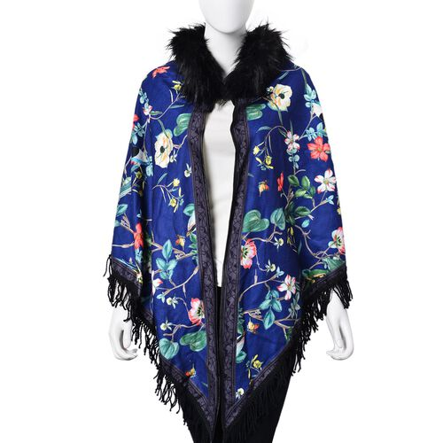 Designer Inspired Blue Floral and Birds Pattern Faux Fur Collar Reversible Poncho with Tassels (Free Size)