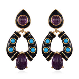 GP Amethyst, Arizona Sleeping Beauty Turquoise and Blue Sapphire Enamelled Earrings (with Push Back)