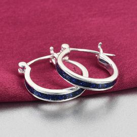 Sterling Silver Blue Enamelled Hoop Earrings (with Clasp)