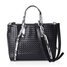One Time Close Out Deal- 100% Genuine Leather Black and White Snake Skin Pattern Tote Bag with Detac
