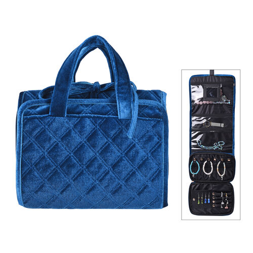 Foldabale Travel Jewellery Storage Pouch with Hanging Hook in Blue Colour