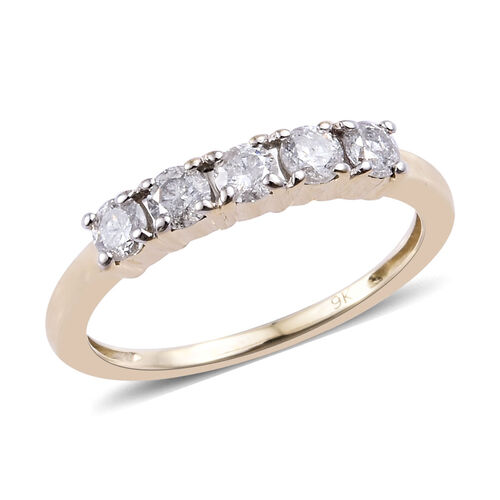 0.50 Ct Diamond 5 Stone Ring in 9K Yellow Gold 1.63 Grams SGL Certified I2 I3 GH