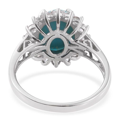 Arizona Sleeping Beauty Turquoise (Ovl 3.95 Ct), White Topaz Ring in Platinum Overlay Sterling Silver 5.250 Ct.