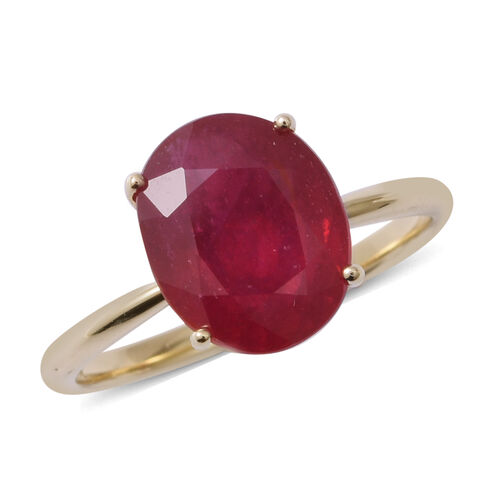 9K Yellow Gold AAA African Ruby (Ovl) Ring 5.350 Ct.