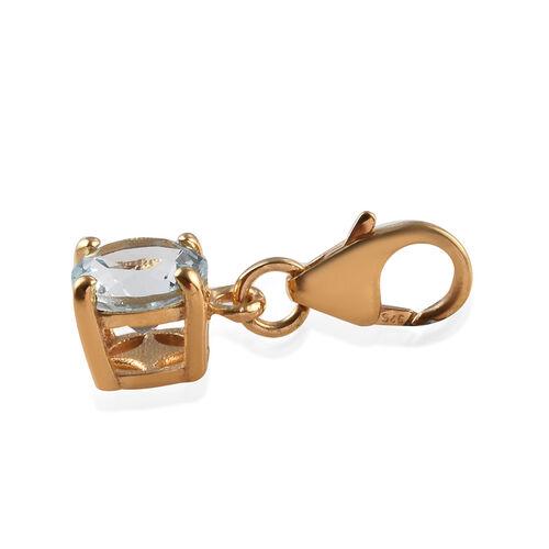 Espirito Santo Aquamarine (Rnd) Charm in 14K Gold Overlay Sterling Silver 0.60 Ct.