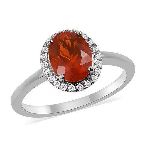 ILIANA 1.30 Ct AAA Jalisco Fire Opal and Diamond Halo Ring in 18K White Gold 3.28 Grams SI GH