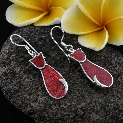 Royal Bali Collection Sponge Coral Kitty Hook Earrings in Sterling Silver