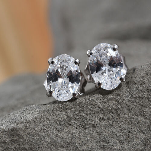 J Francis - Platinum Overlay Sterling Silver (Ovl) Stud Earrings (with Push Back) Made With SWAROVSKI ZIRCONIA