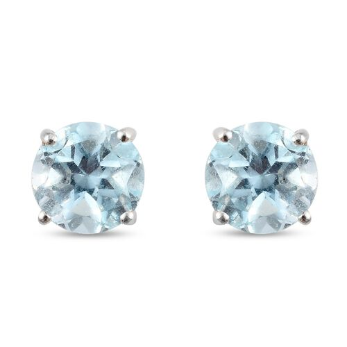 Skyblue Topaz Solitaire Stud Earrings (with Push Back) in Sterling Silver 2.69 Ct.