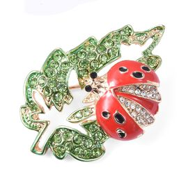 Multicolour Austrain Crystal (Rnd) Enamelled Ladybug Brooch in Yellow Gold Tone