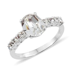 J Francis Crystal from Swarovski - White Colour Crystal (Ovl) Ring in Sterling Silver