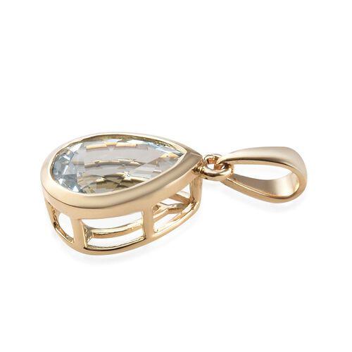 14K Yellow Gold Espirito Santo Aquamarine (Pear 10x7 mm) Pendant 1.75 Ct.
