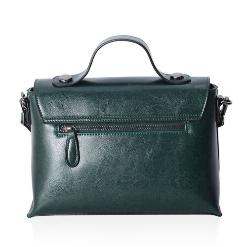 Oxford 100% Genuine Leather Olive Green Colour Satchel Bag with Removable Shoulder Strap (Size 27x18.5x11 Cm)