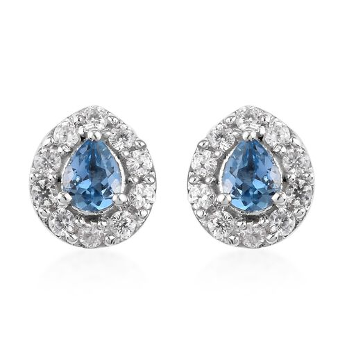 One time Deal - Santa Maria Aquamarine (Pear), Natural Cambodian Zircon Lever Back Earrings (with Pu
