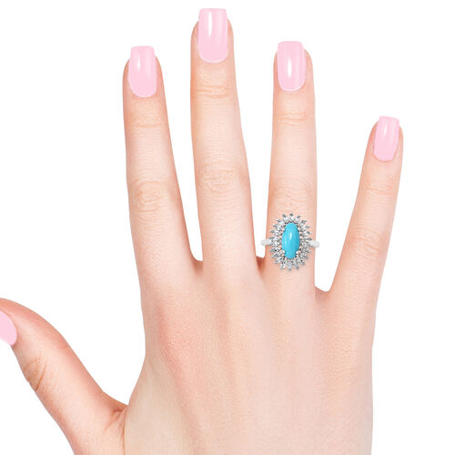 5 Carat Arizona Sleeping Beauty Turquoise and White Topaz Halo Ring in Platinum Plated Silver 4.80 gms