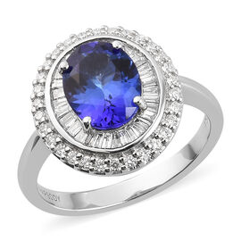 RHAPSODY 950 Platinum AAAA Tanzanite and Diamond (VS/E-F) Ring 2.75 Ct, Platinum wt. 6.61 Gms