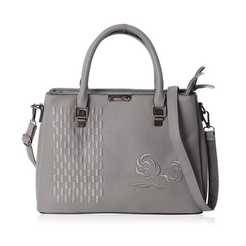 Embroidery Rose Grey Tote Bag with Removable Shoulder Strap Size L32x H23.5x W12 Cm