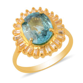 Ratanakiri Blue Zircon and Natural Cambodian Zircon Halo Ring in Yellow Gold Overlay Sterling Silver