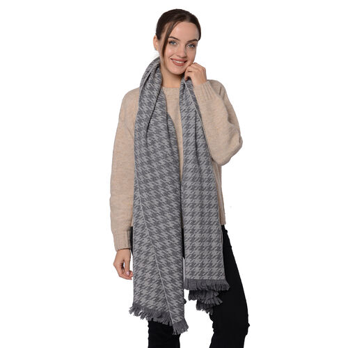 Close Out Deal LA MAREY Super Soft 100% Wool Shawl in Grey Houndstooth Pattern with Tassels (200x69+5cm)