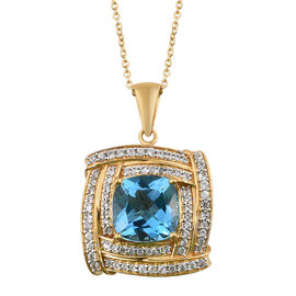 TJC Launch - Marambaia Topaz (Cush 11.00 Ct), Natural Cambodian Zircon Pendant with Chain in 14K Gold Overlay Sterling Silver 12.750 Ct. Silver wt 9.40 Gms.