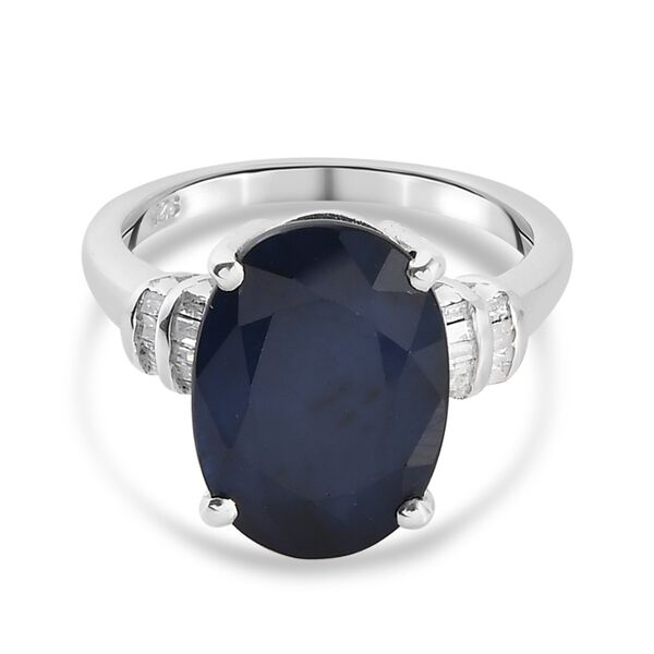 Masoala Blue Sapphire (Ovl 14x10mm) and Diamond Ring in Platinum Overlay Sterling Silver 7.20 Ct.