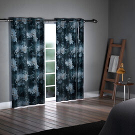 SERENITY NIGHT Set of 2 -  Flower Pattern Blackout Curtain with 8 Eyelets and LED Band (Size 140x240cm) - Green & Beige