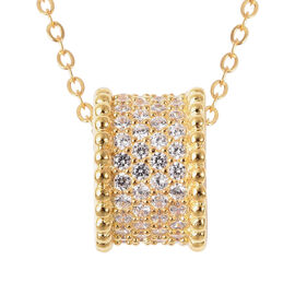 ELANZA Simulated Diamond Charm with Chain (Size 18) in Yellow Gold Overlay Sterling Silver