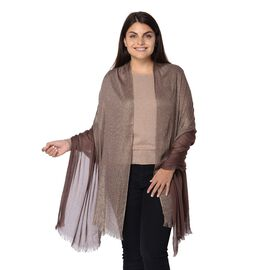 Solid Colour Shimmery Scarf with Small Fringes (Size 195x95 Cm) - Coffee and Golden