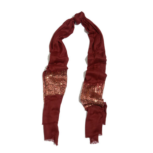 Limited Edition Designer Inspired Maroon Colour Scarf with Sequins Work on Border (Size 180x70 Cm)