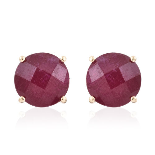 9K Yellow Gold Checkerboard Faceted AAA African Ruby (Rnd) Stud Earrings (with Push Back) 11.850 Ct.