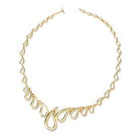 LucyQ Statement Necklace in Gold Plated Sterling Silver 54.32 Grams Size 20 Inch