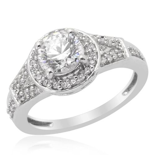 J Francis- Platinum Overlay Sterling Silver (Rnd) Ring Made With SWAROVSKI ZIRCONIA 1.104 Ct.