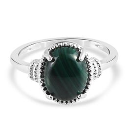 Malachite Solitaire Ring in Sterling Silver 3.90 Ct.