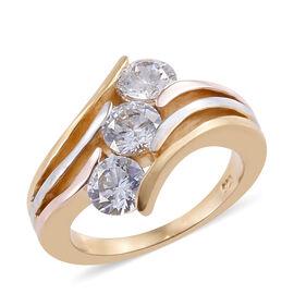 J Francis Made with Swarovski Zirconia 3 Stone Ring in Sterling Silver 5.67 Grams