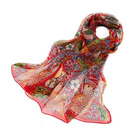 Signare Tapestry 100% Silk William Morris Strawberry Scarf Thief (Size -51X175 Cm) - Red