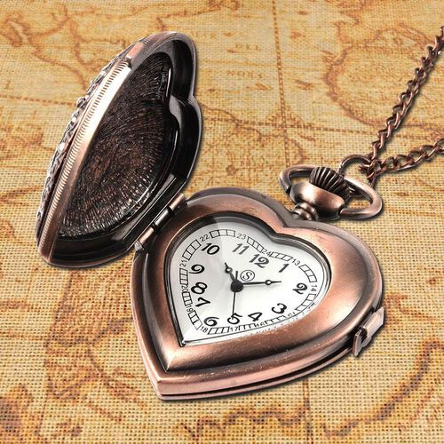 STRADA Japanese Movement Simulated Blue Sapphire, Multicolour Austrian Crystal Water Resistant Heart Pocket Watch with Chain in Rose Gold Plated