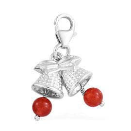 Red Quartzite (Rnd) Bell Charm in Platinum Overlay Sterling Silver 1.500 Ct.