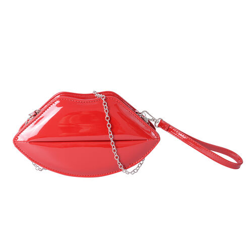 Exclusive Sassy Red High Glossed Lips Clutch Bag with Removable Chain Shoulder Strap (Size 24.5x13x6 Cm)