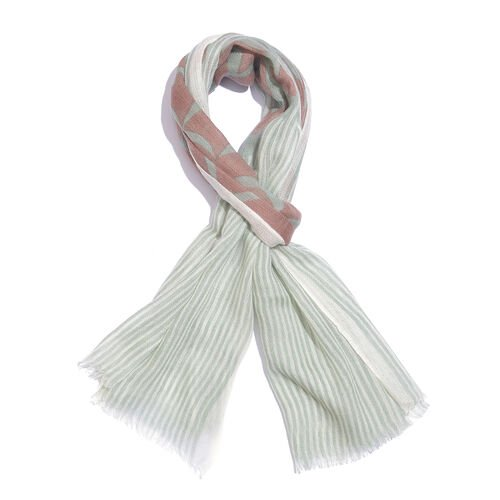 One Time Deal-100% Merino Wool Brown, Sea Green and Multi Colour Stripes Pattern Scarf with Fringes (Size 170X70 Cm)