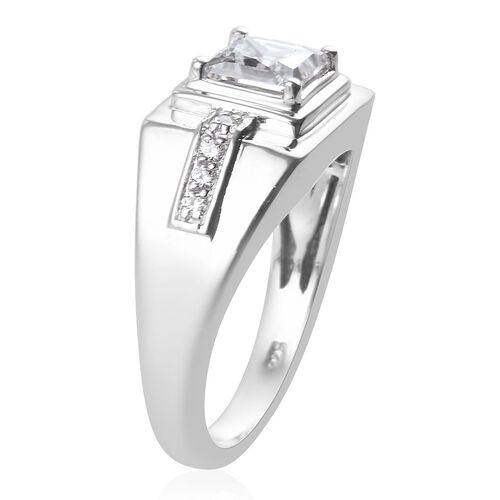 J Francis Platinum Overlay Sterling Silver Ring Made with SWAROVSKI ZIRCONIA 4.68 Ct.