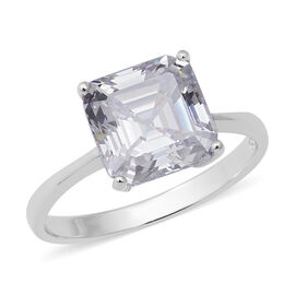 ELANZA Swiss Star Simulated Diamond (Asscher) Solitaire Ring in Rhodium Overlay Sterling Silver