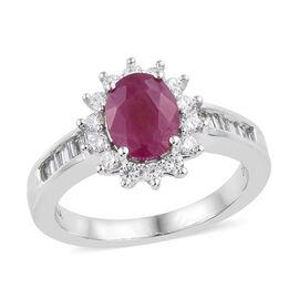 ILIANA 18K White Gold AAA Burmese Ruby (Ovl), Diamond Ring 1.900 Ct, Gold wt 5.88 Gms.