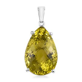 64.50 Ct Natural Ouro Verde Quartz Solitaire Teardrop Pendant in Platinum Plated Sterling Silver