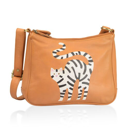 100% Genuine Leather Tan, White and Multi Colour Hand Painted Cat Design Shoulder Bag with Adjustable Shoulder Strap (Size 30X20.5X8 Cm)