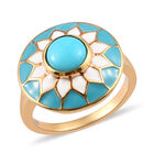Arizona Sleeping Beauty Turquoise Enamelled Floral Ring (Size L) in 14K Gold Overlay Sterling Silver 1.25 Ct.