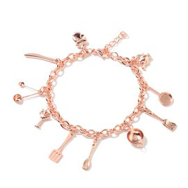 Rose Gold Plated Stainless Steel Bracelet (Size 8 and 1 inch Extender) with Kitchen Kit Charm