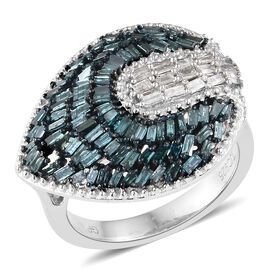 GP 1.02 Ct Blue and White Diamond Cluster Ring in Platinum Plated Sterling Silver 5.16 Grams