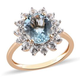9K Yellow Gold  Aquamarine and Natural Cambodian Zircon Halo Ring 3.50 Ct.