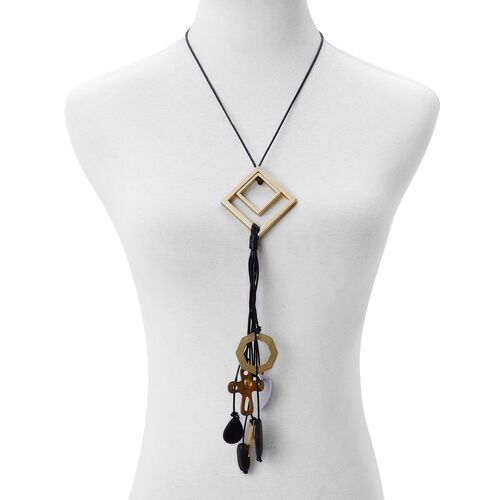 Handcrafted Wooden Multi Charm Adjustable Necklace (Size 32) in Dual Tone